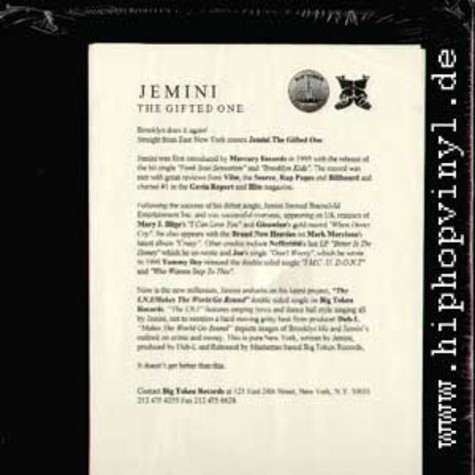 Jemini the gifted one - The I.N.I. / Makes the wotld go round