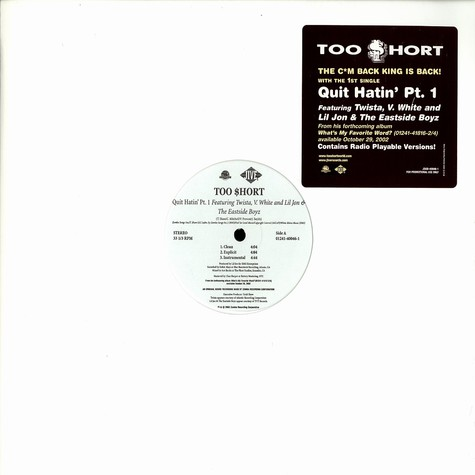 Too Short - Quit hatin part 1 feat. Twista & Lil Jon