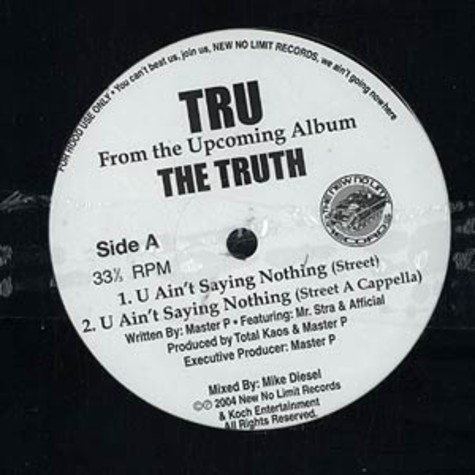 Tru - You ain't saying nothing feat. Mr. Stra & Afficial