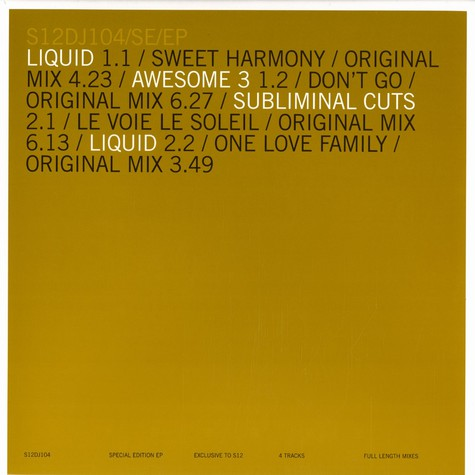 Liquid / Awesome 3 / Subliminal Cuts - Special edition EP
