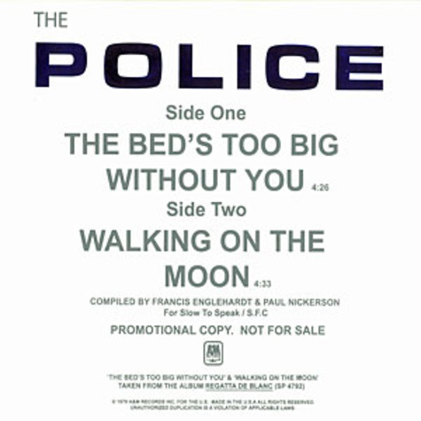 Police, The - The bed's too big without you