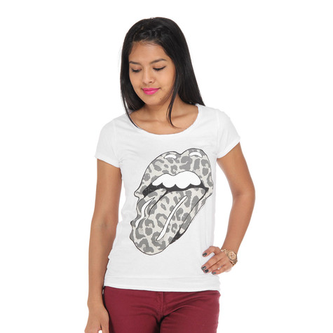 0064d0f0 Rolling Stones, The - Leopard Tongue Women T-Shirt (White) | HHV