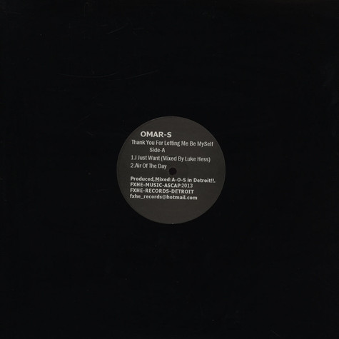 Omar S - Thank You For Letting Me Be Myself (Vinyl ABCD)