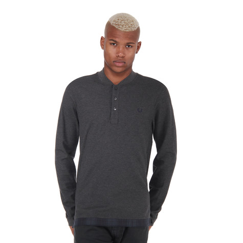 Fred Perry - House Tartan Henley Pique Longs Sleeve