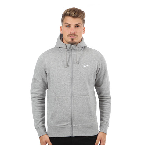 03679edcb0d6 Nike - Club Swoosh Full-Zip Hoodie (Dark Grey Heather   White)
