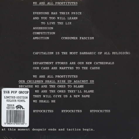 Pop Group, The - We Are All Prostitutes / Amnesty International Report