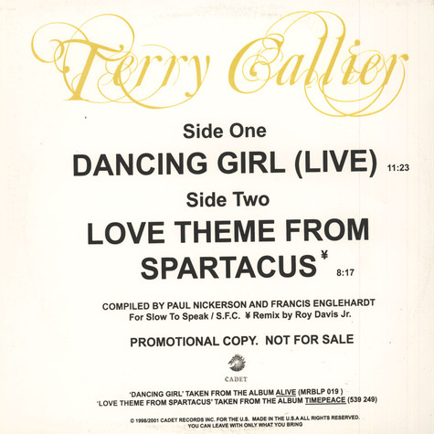 Terry Callier - Dancing Girl / Love Theme From Spartacus