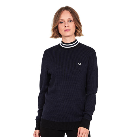 cc2bff892c Fred Perry - Houndstooth Turtleneck Jumper (Black)