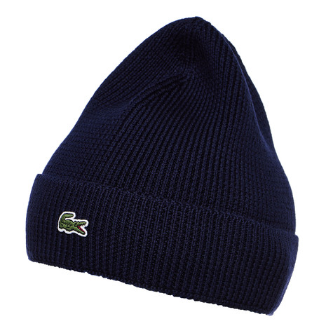 Lacoste - Half Cardigan Rib Knitted Hat