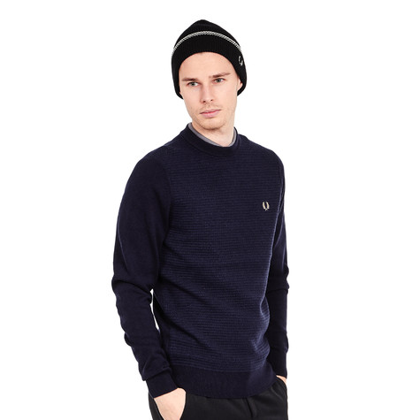 fred perry textured crew neck jumper navy. Black Bedroom Furniture Sets. Home Design Ideas
