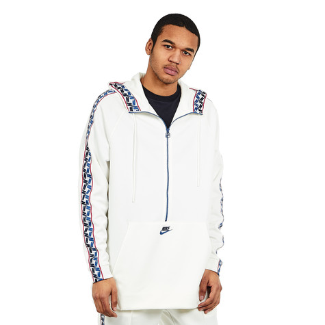 bf44eb773a Nike - NSW Taped Half Zip Hood Poly (Sail   Gym Blue   Obsidian)