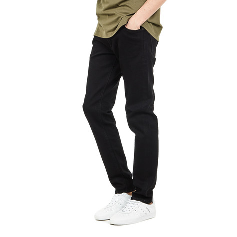 Edwin - ED-85 Slim Tapered Drop Crotch Jeans CS White Listed Black Selvage Stretch Denim, 13 oz