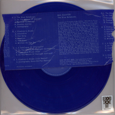 Max Richter - The Blue Notebooks Blue Vinyl RSD 2018 Edition