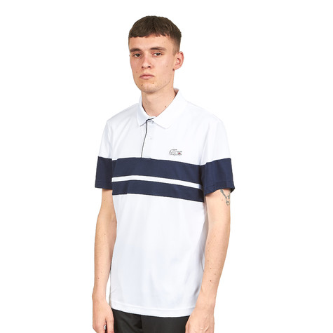 f5a8e3755 Lacoste - Run Resistant Ultra Dry Pique Knit Polo (White   Navy Blue ...