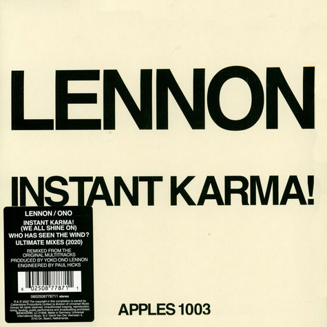 Lennon/Ono With The Plastic Ono Band - Instant Karma! 2020 Ultimate Mixes Record Store Day 2020 Edition