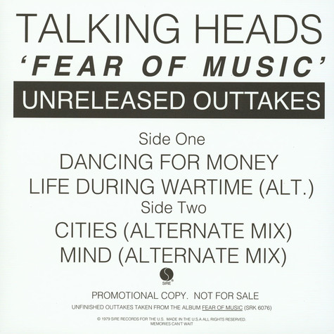 Talking Heads - Fear Of Music (Unreleased Outakes)