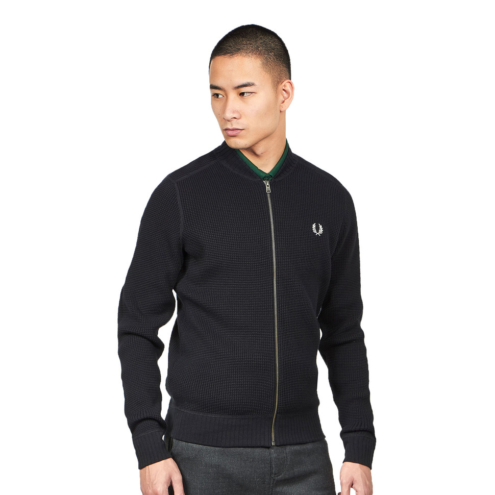 Fred Perry Waffle Textured Full Zip Cardigan M